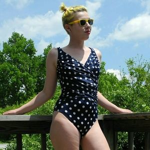 Vintage navy blue polka dotted swimsuit 